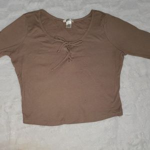Tan Long Sleeve Cropped Top Lace Up